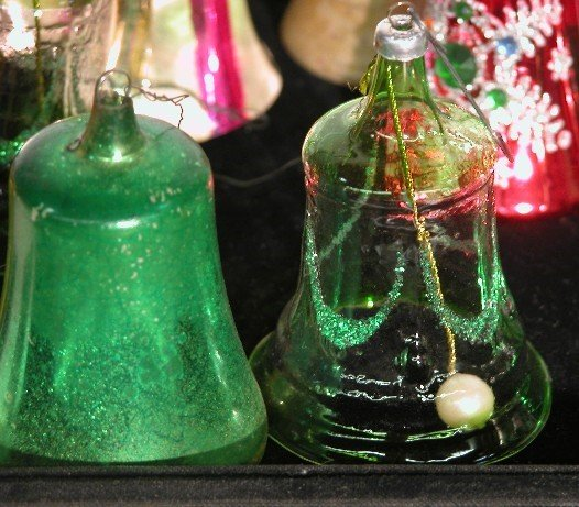 3005: ***GROUP OF GLASS BELL ORNAMENTS| Some with appli