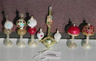 ***SIX GLASS ORNAMENTS| Five table lamps and gas