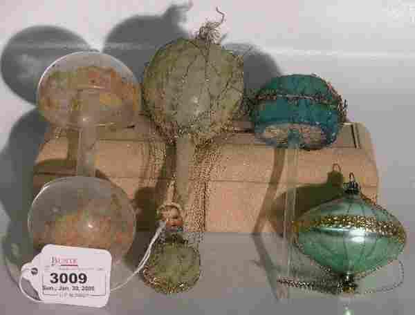 ***FOUR GLASS CHRISTMAS ORNAMENTS| Mushroom with