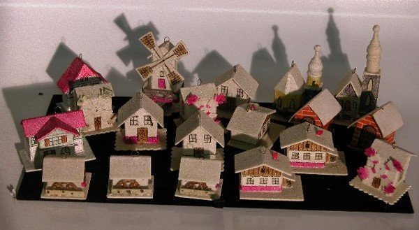 3010: ***GROUP OF COATED CARDBOARD MINIATURE VILLAGE OR