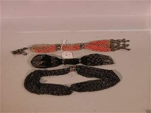 THREE BEADED MISER BAGS| CONDITION: Good.