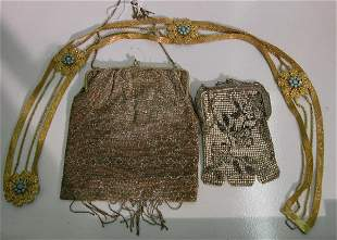 THREE PIECES| Gilt metal belt, beaded purse and m