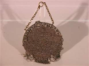 ***BEADED BAG| With beaded front, with fringe and