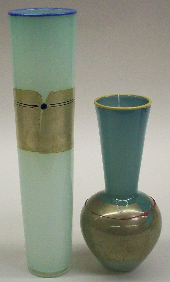 1013: TWO STUDIO PARAN ART GLASS VASES