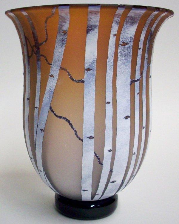 1017: BERNARD KATZ ART GLASS FOOTED VASE