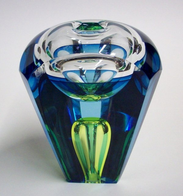 1020: BUXTON & KUTCH ART GLASS PAPERWEIGHT VASE