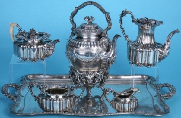 1123: SEVEN PIECE RUSSIAN SILVER TEA SET