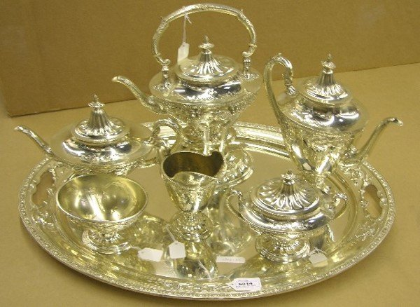 5015: WALLACE SIX PIECE STERLING SILVER TEA AND COFFEE