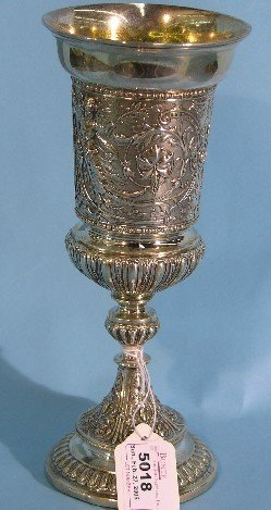 5018: GERMAN SILVER CHALICE| Having figural, floral and