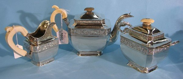 5023: 19TH CENTURY RUSSIAN THREE PIECE STERLING SILVER