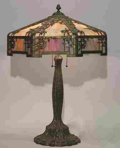 ART NOUVEAU SLAG GLASS TABLE LAMP  Mounted with a