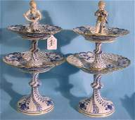 5064: PAIR MEISSEN TWO TIER SWEETMEAT DISHES ON STAND|