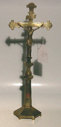 4003: BRASS CRUCIFIX  Height 18 1/4''. CONDITION: Very