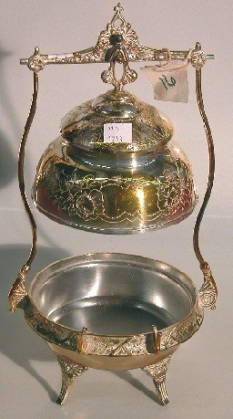 4015: VICTORIAN SILVERPLATE COVERED BUTTER  Height 12 1