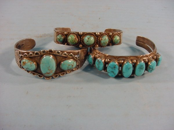 2005: ***THREE TURQUOISE AND SILVER BRACELETS