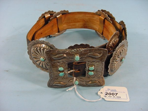2007: ***SILVER AND TURQUOISE CONCHO BELT
