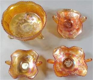 4 PIECES CARNIVAL GLASS