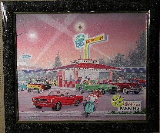 1252: KAISER| Route 66 Drive In, framed print on canvas