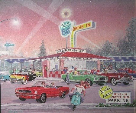 1252: KAISER| Route 66 Drive In, framed print on canvas - 2