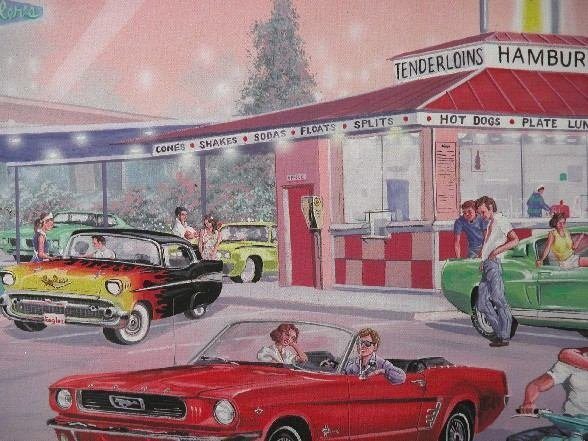 1252: KAISER| Route 66 Drive In, framed print on canvas - 3