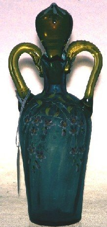1003: VICTORIAN BLUE AND AMBER GLASS STOPPERED BOTTLE|