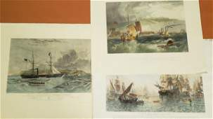 3 UNFRAMED COLORED ENGRAVINGS