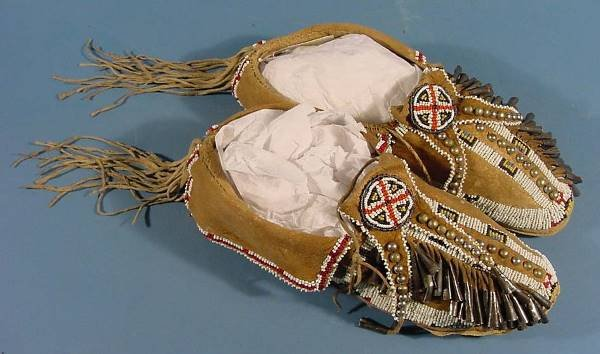 3230: ***SOUTHERN CHEYENNE MOCCASINS| Beaded on hide an