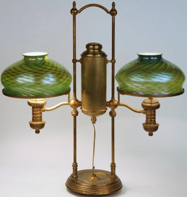 1166: ***TIFFANY STUDIOS DOUBLE STUDENT LAMP