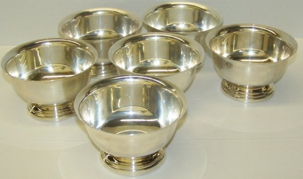 1104: ***SIX POOLE STERLING SILVER FOOTED BOWLS