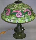 ***AMERICAN ART NOUVEAU LEADED GLASS TABLE LAMP