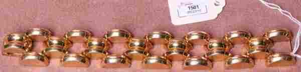 1501: ***RETRO MODERN 14K YELLOW GOLD BRACELET