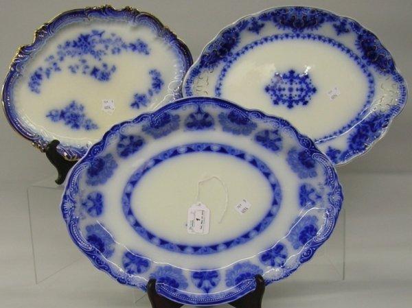 1: ***THREE FLOW BLUE PLATTERS