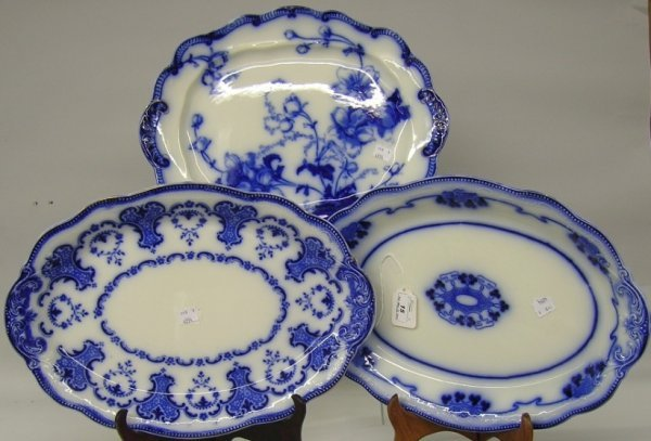 15: ***THREE FLOW BLUE PLATTERS