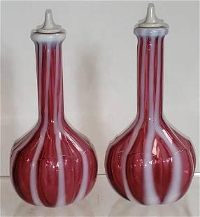 2 GLASS BARBER BOTTLES