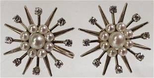 PAIR OF 14K GOLD PEARL & DIAMOND EARRINGS
