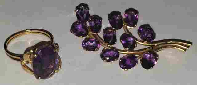 TWO PIECES OF AMETHYST JEWELRY