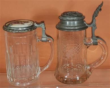 2 GLASS BEER STEINS