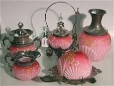 1055: FIVE PIECES OF VICTORIAN PINK SATIN GLASS| Compri