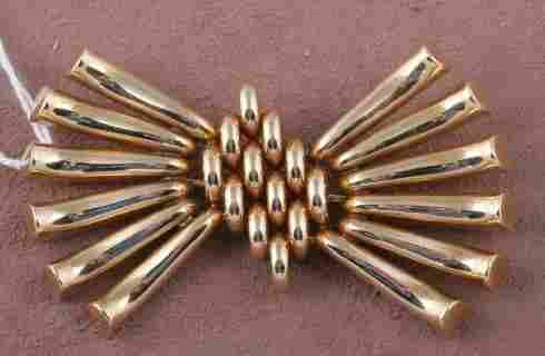 RETRO MODERN 14K YELLOW GOLD BROOCH| Stylized bow