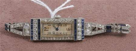 1527 LADYS ART DECO DIAMOND AND SAPPHIRE WRISTWATCH