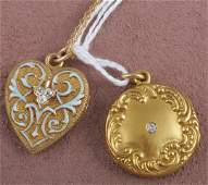 1569: TWO PIECES OF VICTORIAN JEWELRY  Comprising 14K y
