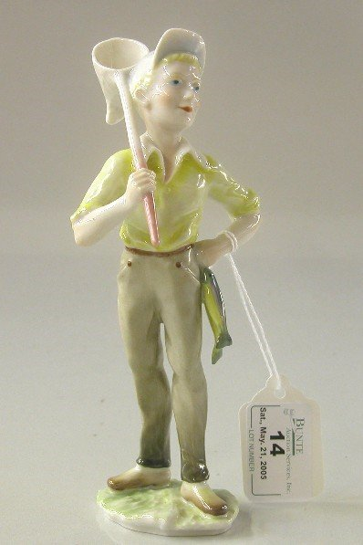 14: HUTSCHENREUTHER PORCELAIN FIGURE| Boy with fishing