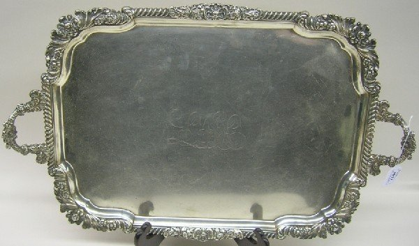 1017: ENGLISH STERLING SILVER TWO HANDLE SERVING TRAY