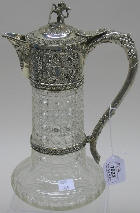 1023: ***ENGLISH STERLING SILVER AND CUT GLASS PITCHER