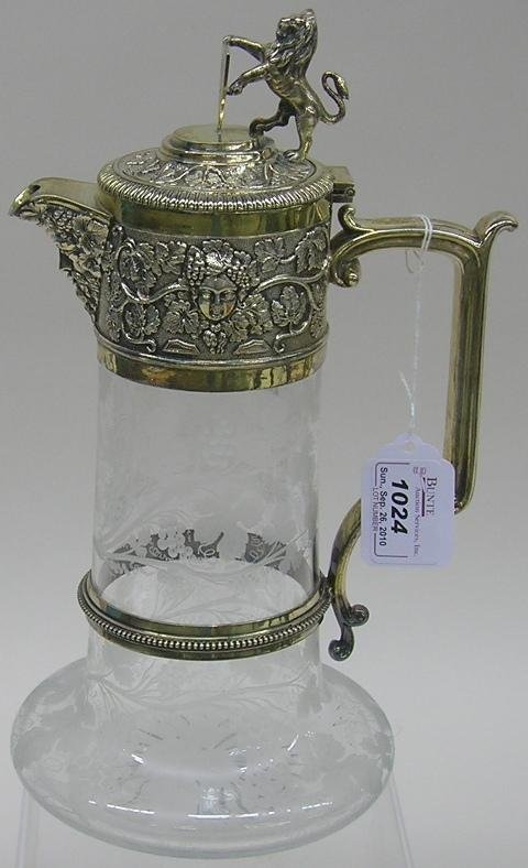 1024: ***ENGLISH SILVERPLATE AND ETCHED GLASS PITCH