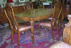 1827: ***TEN PIECE LOUIS XV STYLE WALNUT DINING SET