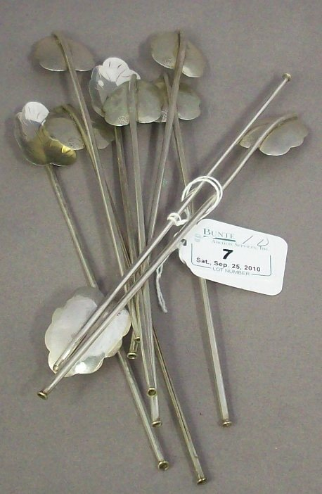 7: ***SET OF 10 MEXICAN STERLING SILVER ICED TEA SIPPER