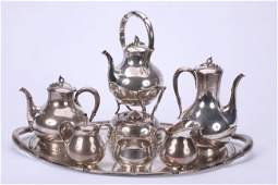 1005 MEXICAN SEVEN PIECE STERLING SILVER TEA AND COFFE