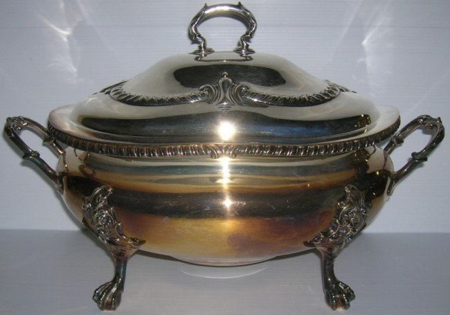 1013: ***W.H. AND SONS SILVERPLATE COVERED TWO-HANDLED