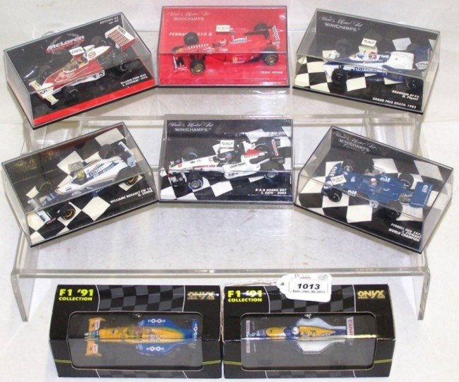1013: ***GROUP OF EIGHT 1/43 DIE CAST F1 CARS